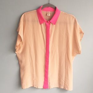 NWOT Kate Spade silk pink button down shirt